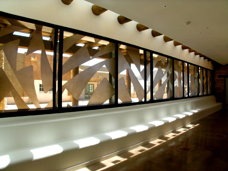 Patinated Steel 'Serpentine' Window and Sandblasted Glass at the Acoma Sky City Cultural Center, NM