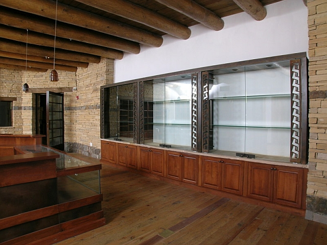 Patinated Steel & Glass Gift Shop Cabinets - Acoma Sky City Cultural Center, NM