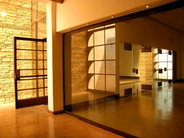 Off-set and Center pivot hinged Steel Doors at the Haak'u Museum - Acoma Sky City Cultural Center, NM