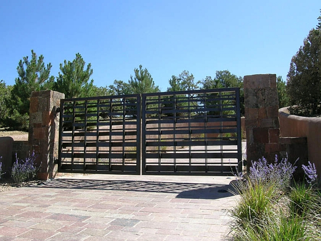 Woven Steel Driveway Gates with Patina Finish