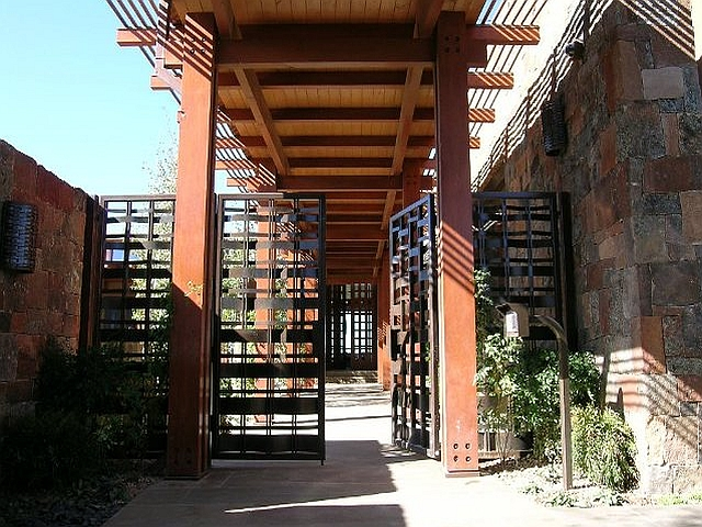 Woven Steel Entryway Gates with Patina Finish