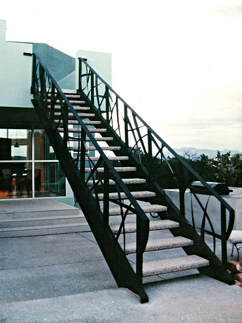 Artistically Woven Steel Staircase with exterior paint