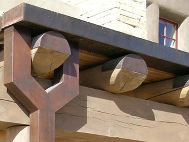 Custom Steel Gutter & Viga Caps with Patina- Acoma Sky City Cultural Center, NM
