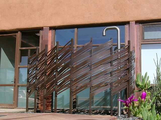 Woven Steel Outdoor Shower Screen with Patina