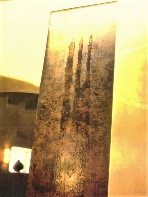 Interior Steel Wall Fountain with Patina (Detail)