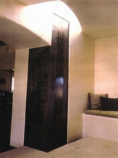 Interior Steel Wall Fountain with Patina