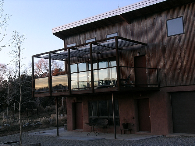 Exterior Steel Deck with galvanized tread floor & glass panels