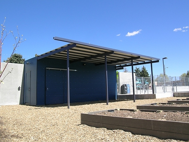 Corrugated Metal Structure for the 'Outdoor Classroom' at