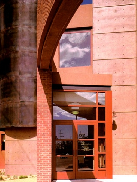 Circular steel enclosure with blackened patina - Community Bank, Santa Fe, NM